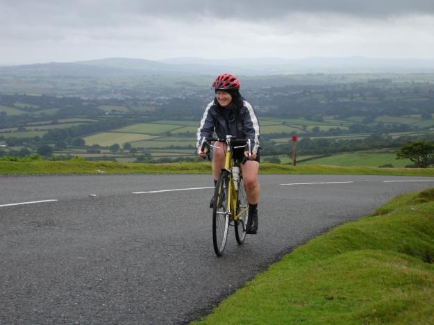 Carol climbing Dartmoor