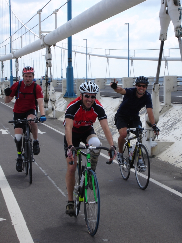 Rich, Ian & Nathan on Severn Bridge